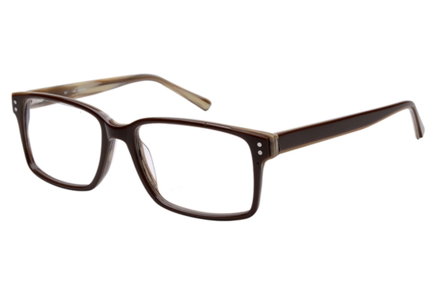 Amadeus A999 Eyeglasses in BRN/GS Brown Over White Gray Stripe