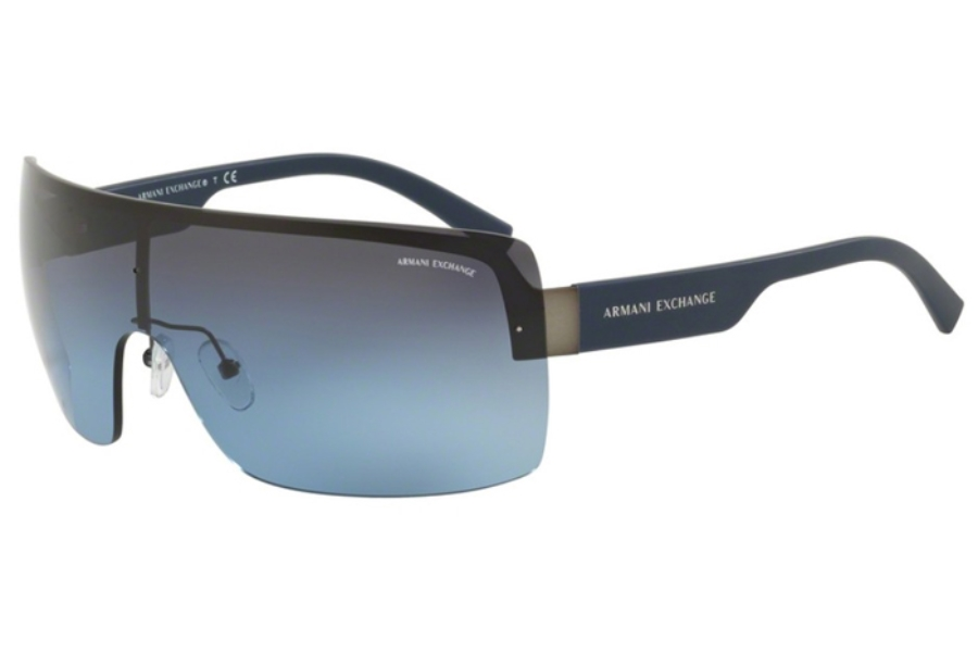 Armani Exchange AX2024S Sunglasses in 60888F Matte Gunmetal/Blue Gradient Grey (Discontinued)