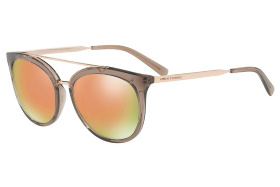 Armani Exchange AX4068SF Sunglasses in 82404Z Transparent Tundra Brown / Grey Mirror Rose Gold