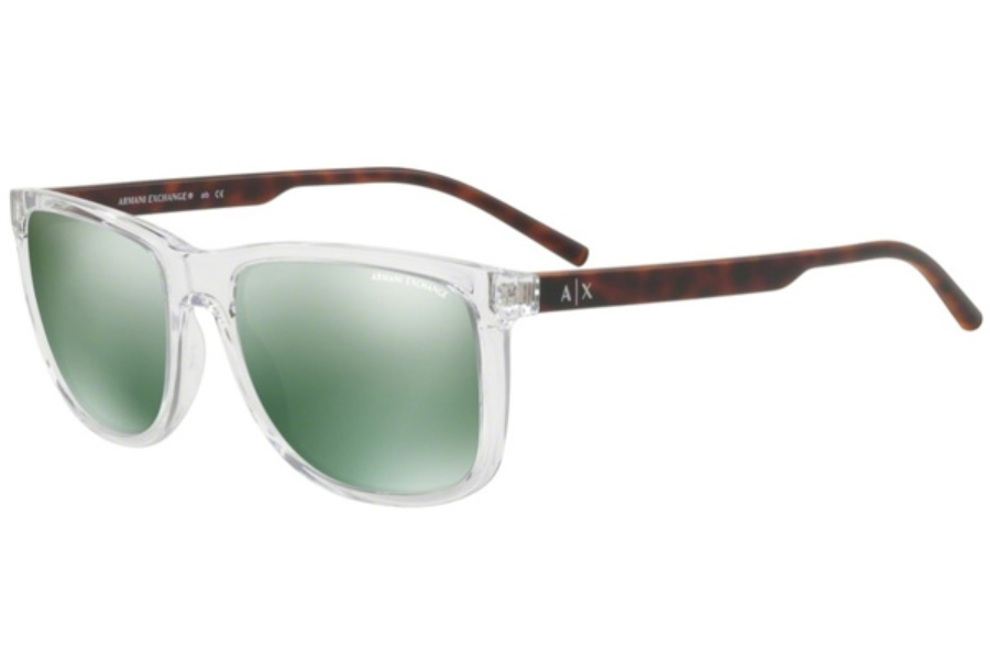 Armani Exchange AX4070SF Sunglasses in 82356R Transparent Grystal / Light Green Mirror Petrol