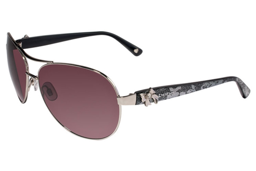 Bebe BB7018 Breathtaking Sunglasses in 004 Silver Lace / Grey Gradient Lenses
