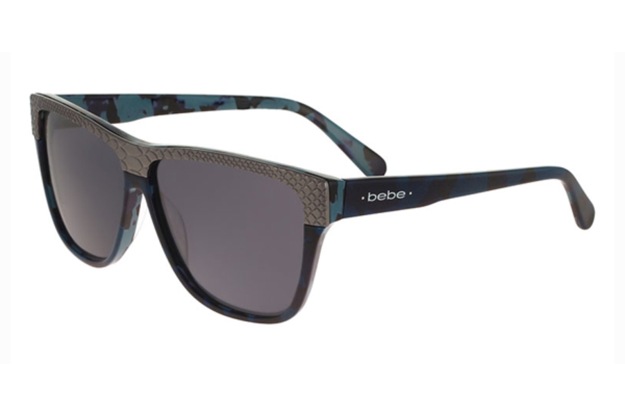 Bebe BB7139 Ms. Right Now Sunglasses in 414 Navy Fatigue Grey Fashion Lenses