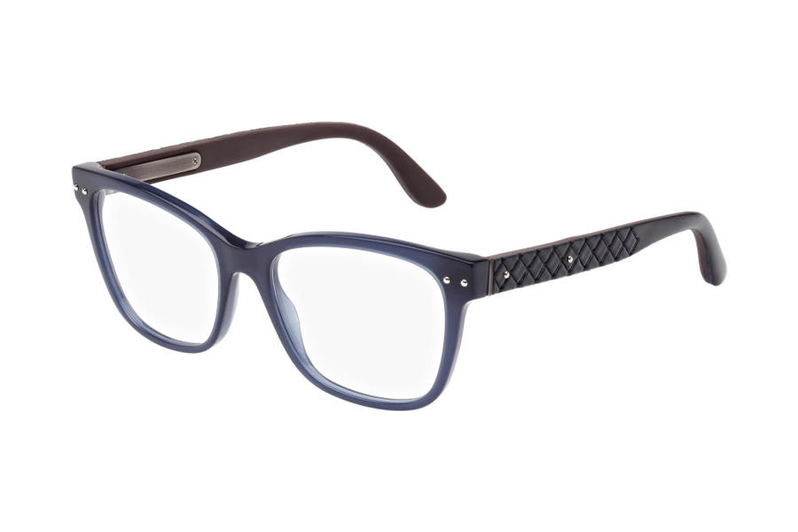 Bottega Veneta BV0010O Eyeglasses in 004 / 008 Blue with Brown temples