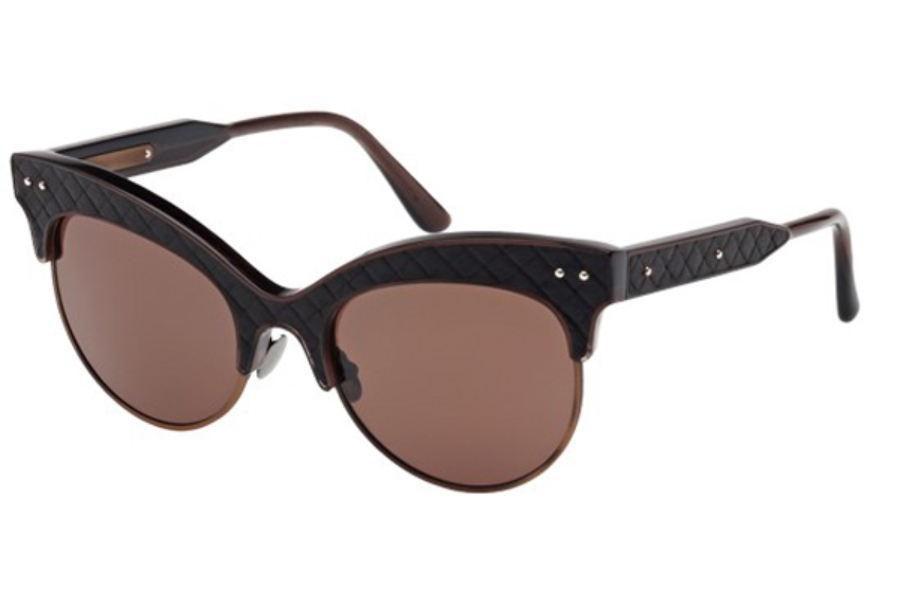 Bottega Veneta BV0014S Sunglasses in 003 Espresso Leather with Espresso Temples and Brown Lens