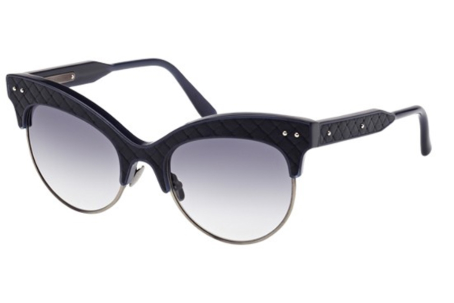 Bottega Veneta BV0014S Sunglasses in 004 Blue Leather with Blue Temples and Smoke Gradient Lens