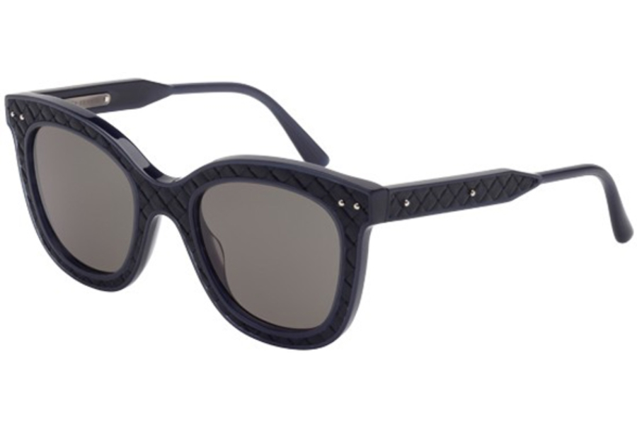 Bottega Veneta BV0035S Sunglasses in 005 Blue with Blue Leather and Grey Lens