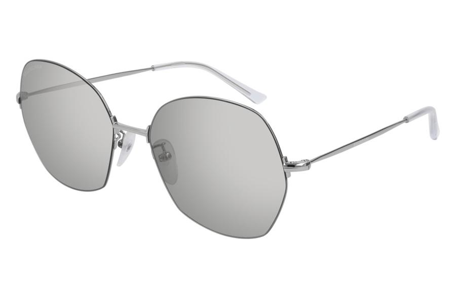 Balenciaga BB0014S Sunglasses 006 White//Grey Mirror Lens 58 mm
