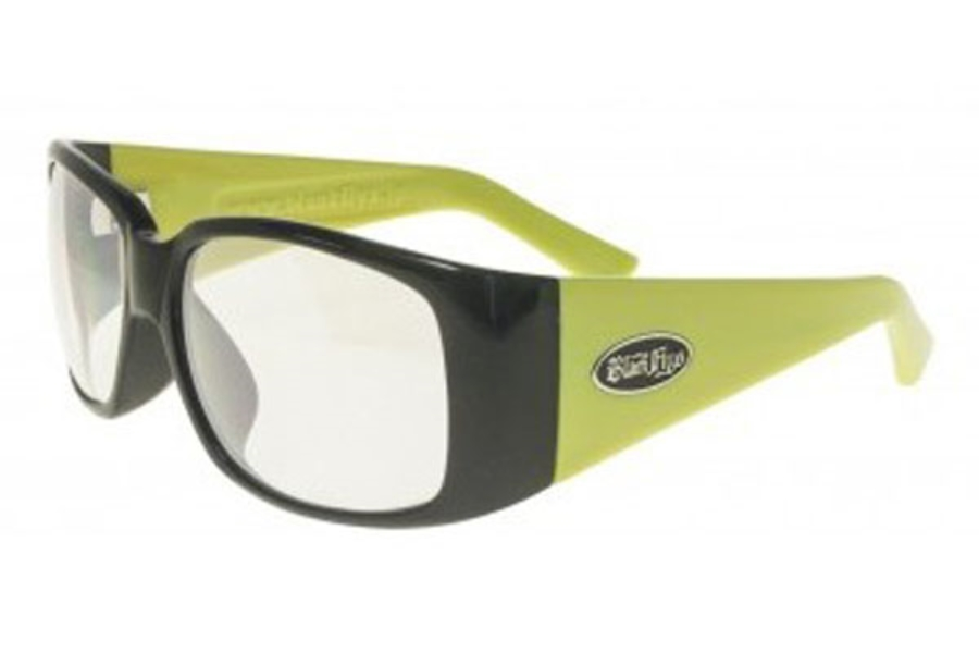 Black Flys DUB FLY Eyeglasses in Shiny Black-Yellow w/ Clear Flash Lens