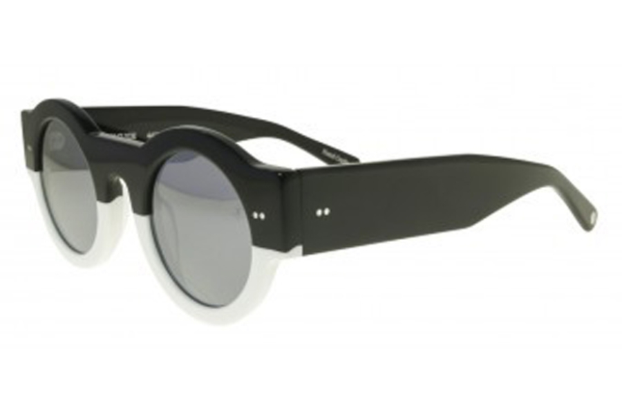 Black Flys FLY CLYDE Sunglasses in Shiny Black-White w/ Smoke Polarized Lens