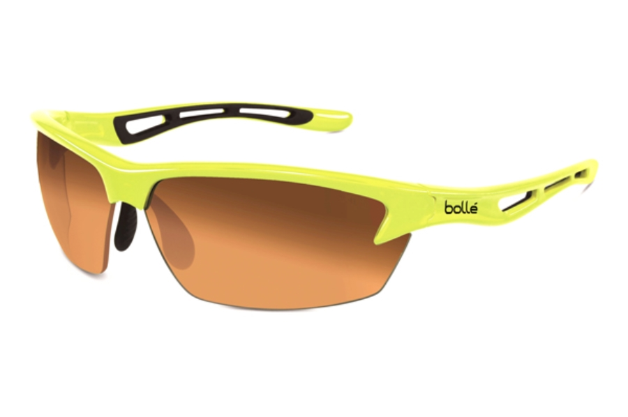 Bolle Bolt Sunglasses Shiny White Green Edge//Modulator Green Emerald Oleo AF Lens Bolle Serengeti Eyewear 11773