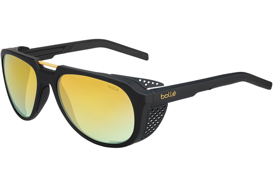Bolle Cobalt Sunglasses in 12526 Matte Black Gold Brown W/Gold
