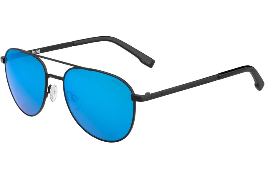 Bolle Evel Sunglasses in 12536 Matte Black Polarized W/Offshore Blue