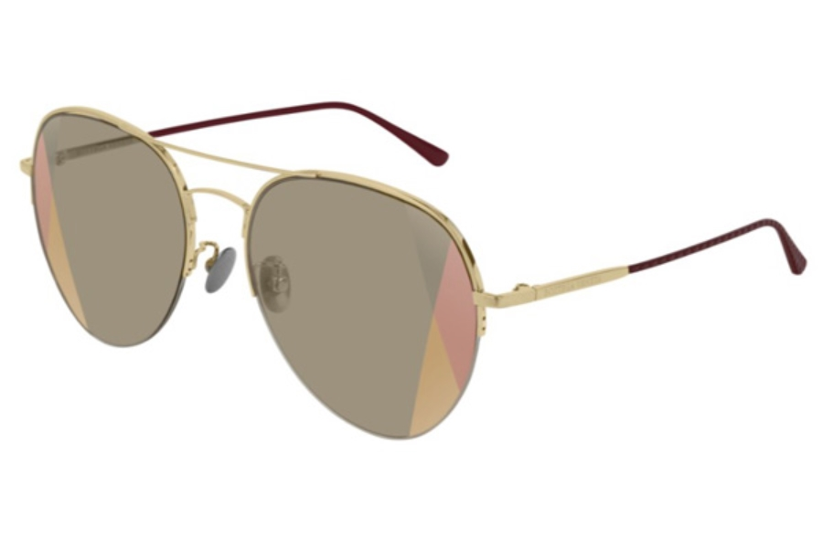 Bottega Veneta BV0247S Sunglasses in 007 Gold / Brown