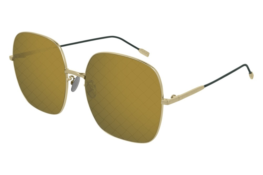 Bottega Veneta BV0202S Sunglasses in 004 Gold Green/Green Flash