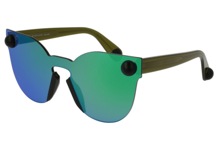 Christopher Kane CK0007S Sunglasses in 004 Green/Green Mirror Lens