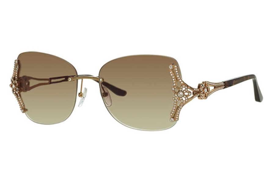Caviar Caviar M6875 Sunglasses in 16 Tortoise / Gold w/ Clear Crystals w/ Brown Lens