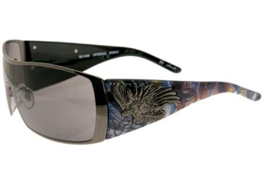 Christian Audigier CAS404 MOTHER OF GRACE Sunglasses in GUNMETAL w/ Lenses - (/GREY)