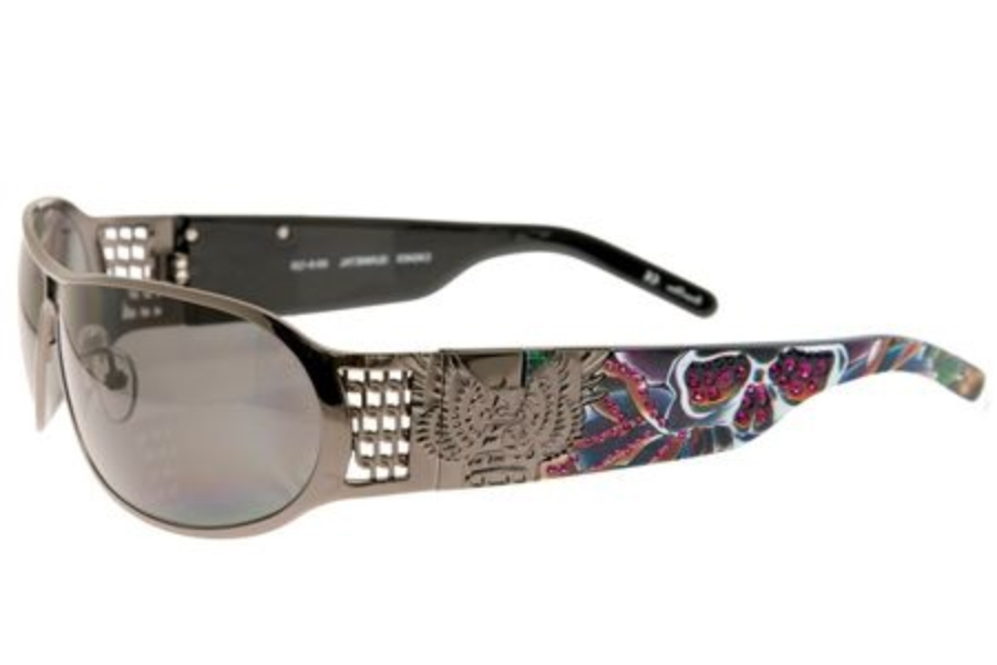 Christian Audigier CAS403 SPLATTER Sunglasses in GUNMETAL w/ Lenses - (/GREY)
