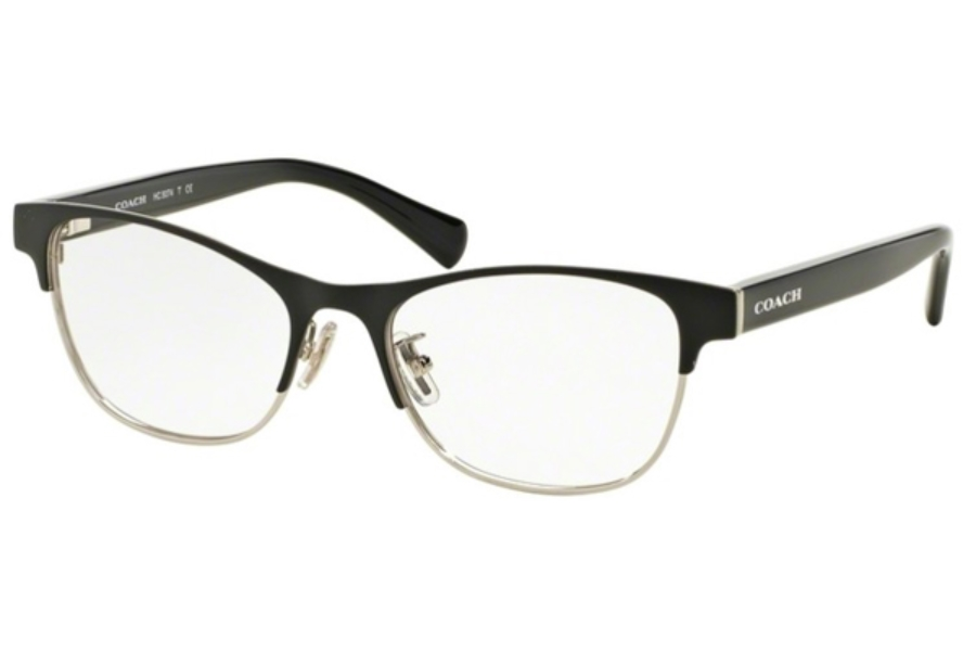Coach HC5074 Eyeglasses in 9239 Satin Black Silver/Black (Discontinued)