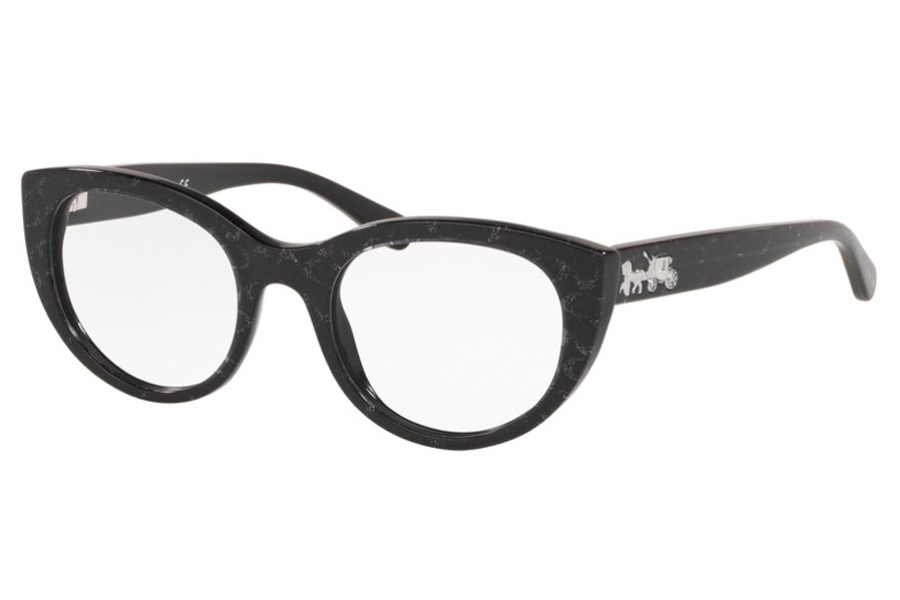 Coach HC6132 Eyeglasses in 5572 Black With Silver Glitter Faci
