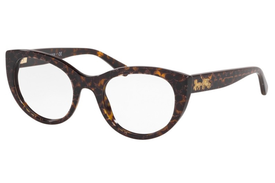 Coach HC6132 Eyeglasses in 5573 Tortoise With Pink Glitter Fac