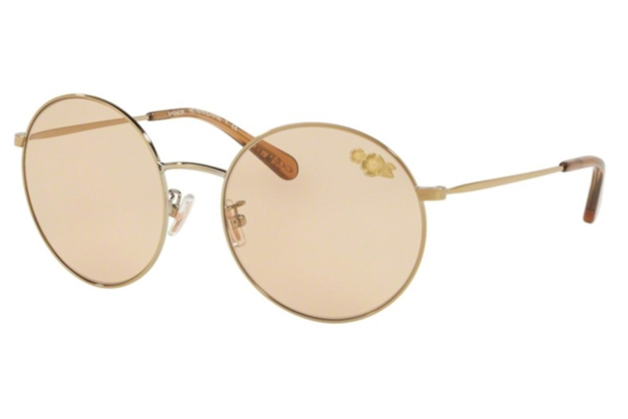 70181ed9f9 ... Coach HC7078 Sunglasses in 900573 Shiny Light Gold   Light Brown Solid  ...