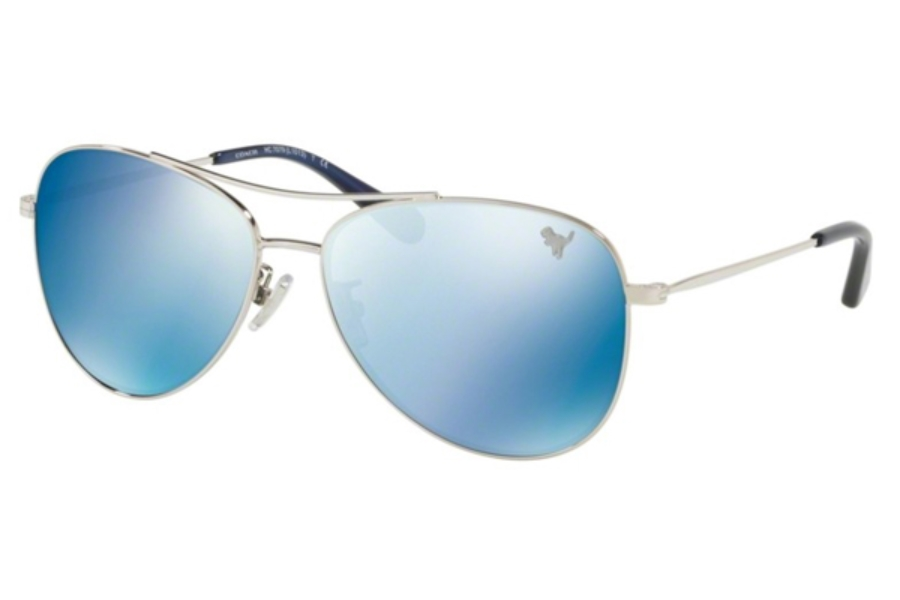 Coach HC7079 Sunglasses in 900155 Silver / Solid Blue Flash Lens