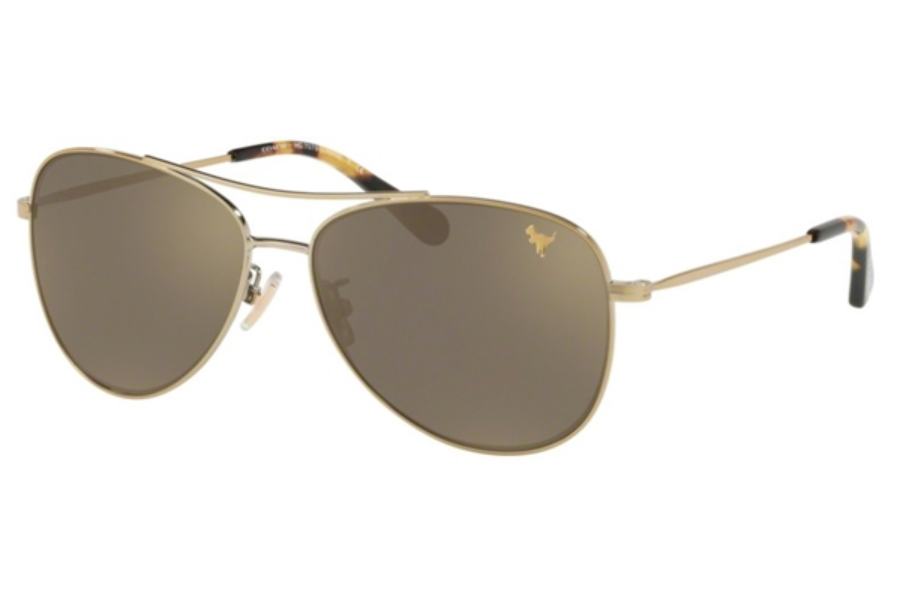 Coach HC7079 Sunglasses in 90056G Light Gold / Gold Mirror