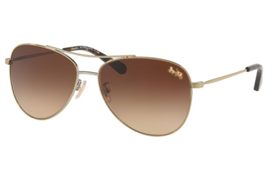 Coach HC7079 Sunglasses in 932213 Light Gold / Brown Gradient
