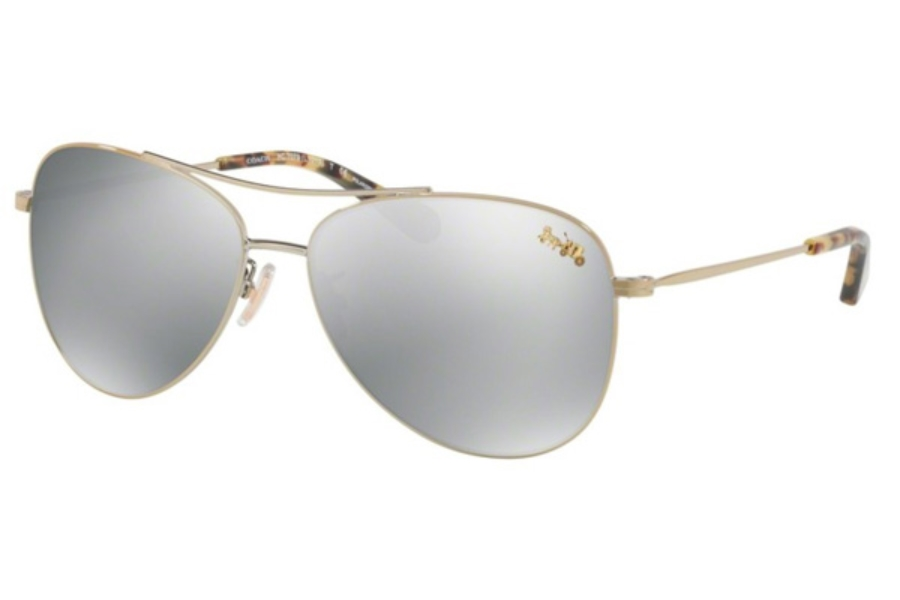 4828068550 Coach HC7079 Sunglasses in 9322Z3 Light Gold   Silver Mirror Polar ...