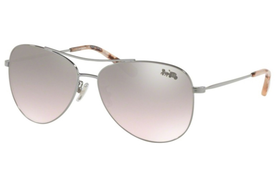 Coach HC7079 Sunglasses in 93318Z Shiny Gunmetal / Pink Silver Flash