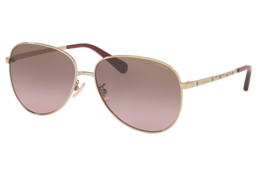 Coach HC7094 L1089 Sunglasses in 900514 Shiny Light Gold w/Brown Purple Gradient