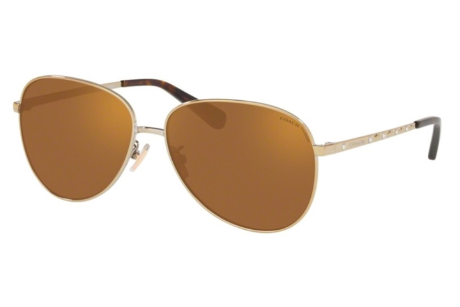 Coach HC7094 L1089 Sunglasses in 90052T Shiny Light Gold w/Brown Mirror Polar