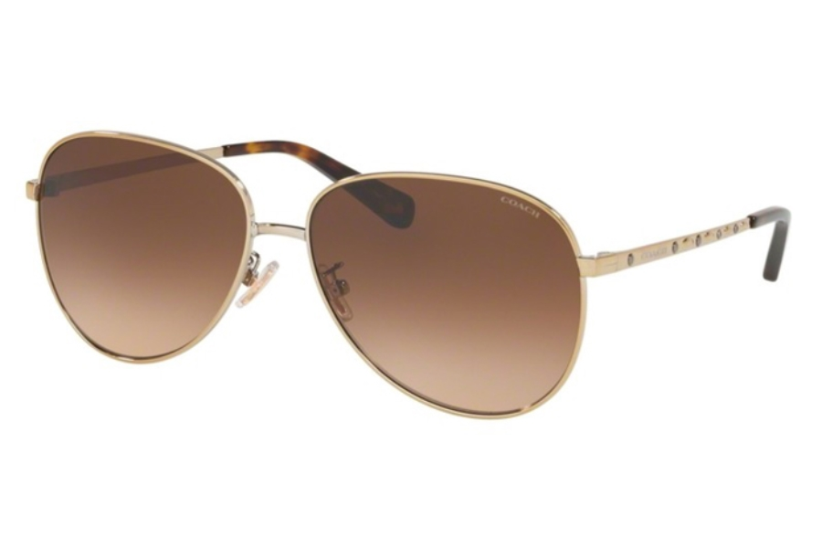 Coach HC7094 L1089 Sunglasses in 900574 Shiny Light Gold w/Brown Gradient