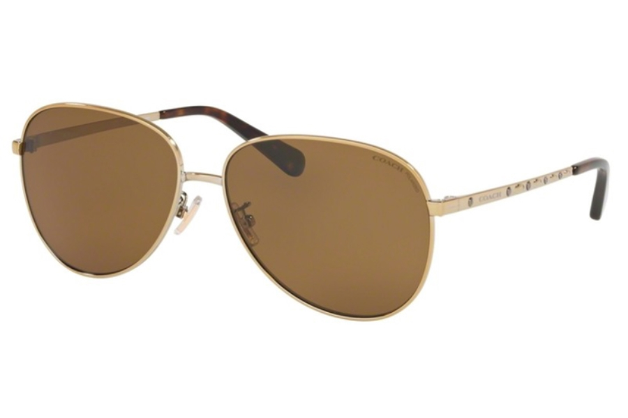 Coach HC7094 L1089 Sunglasses in 900583 Shiny Light Gold w/Brown Solid Polar