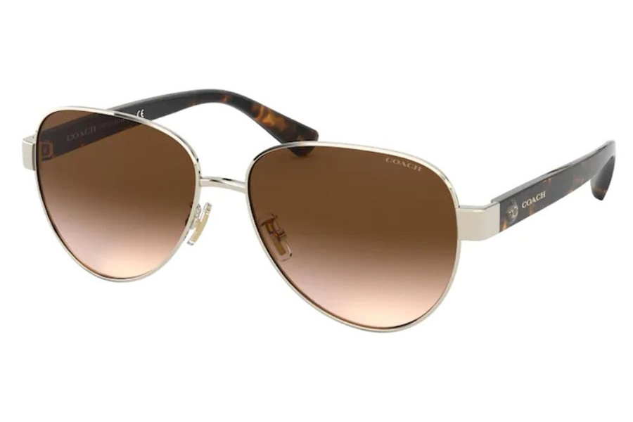Coach HC7111 Sunglasses in 900513 Shiny Light Gold / Brown Gradient
