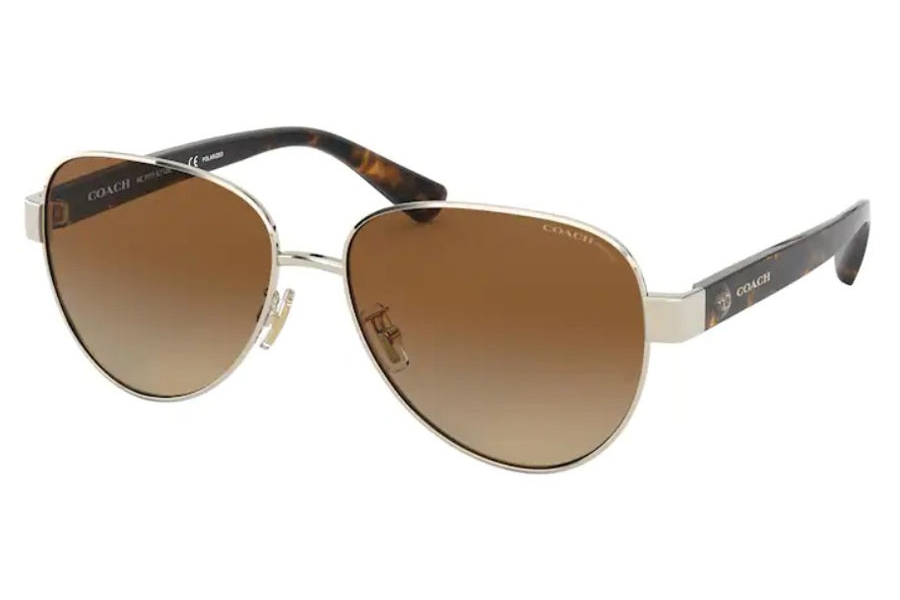 Coach HC7111 Sunglasses in 9005T5 Shiny Light Gold / Brown Gradient Polar