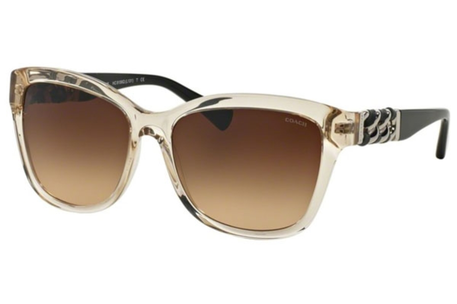 ee2d0fca8707 ... Coach HC8156Q Sunglasses in 532313 Crystal Light Brown/Black Brown  Gradient ...