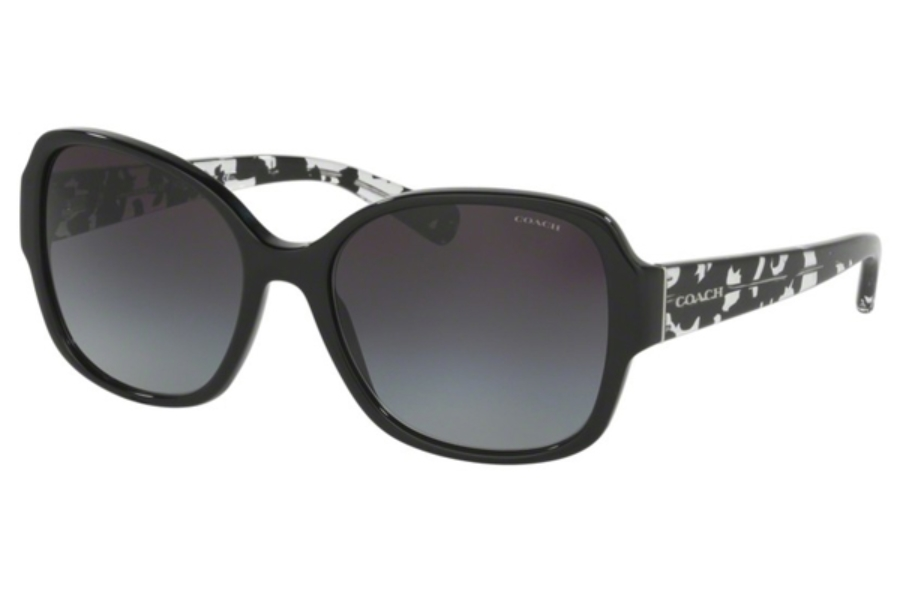 Coach HC8166 Sunglasses in 534811 Black/Black Crystal Mosaic /Light Grey Gradient