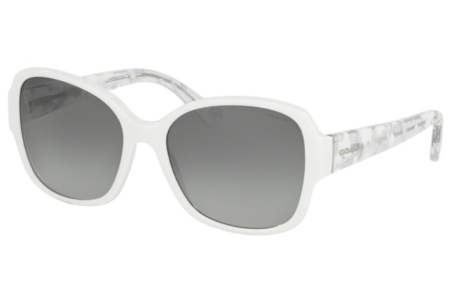 Coach HC8166 Sunglasses in 536011 White/White Crystal Mosaic / Grey Gradient (Discontinued)