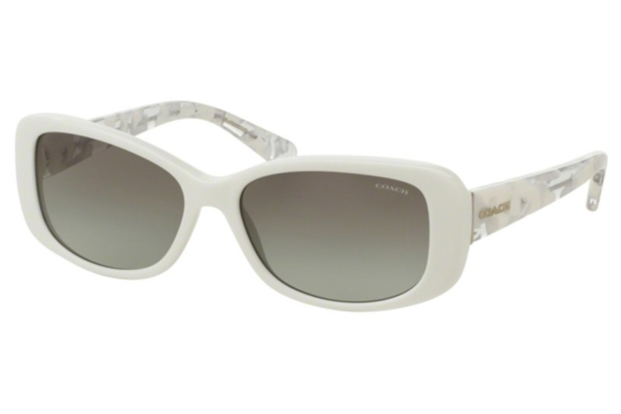 Coach HC8168 Sunglasses in 536011 White/White Crystal Mosaic / Grey Gradient (Discontinued)
