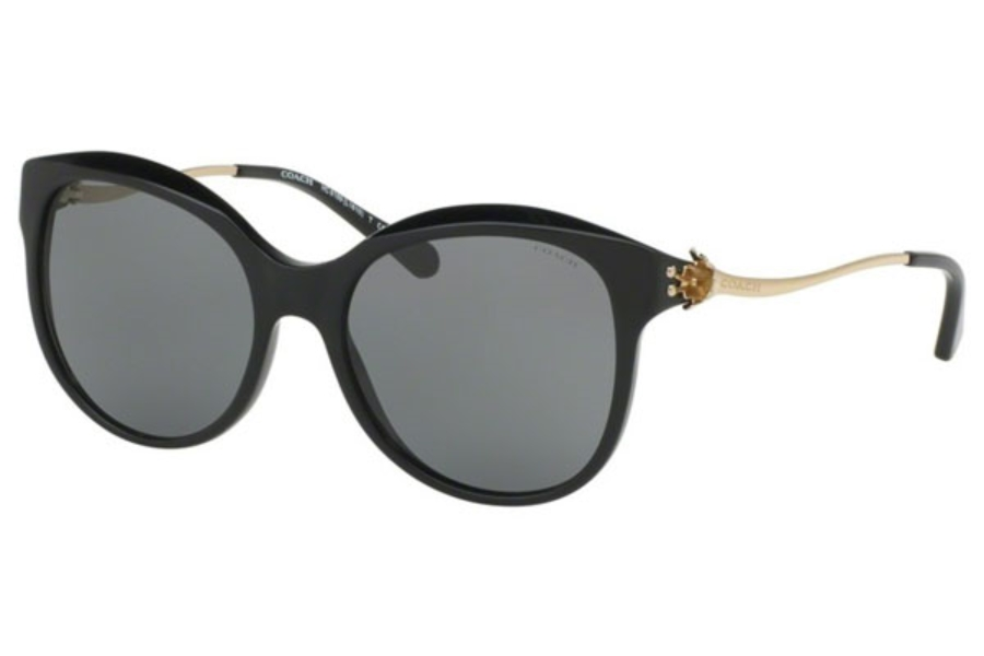 Coach HC8189F Sunglasses in 530887 Black/Light Gold / Grey Solid (Discontinued)