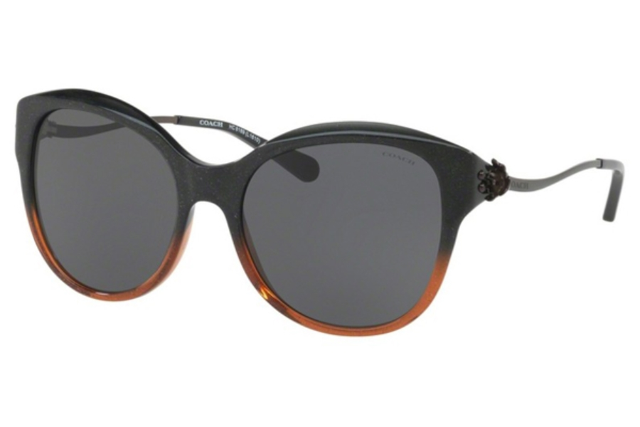 Coach HC8189F Sunglasses in 547587 Black Amber Glitter Gradient / Dark Grey Solid (Discontinued)