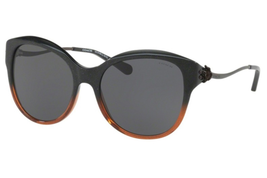 Coach HC8189 Sunglasses in 547587 Black Amber Glitter Gradient / Dark Grey Solid