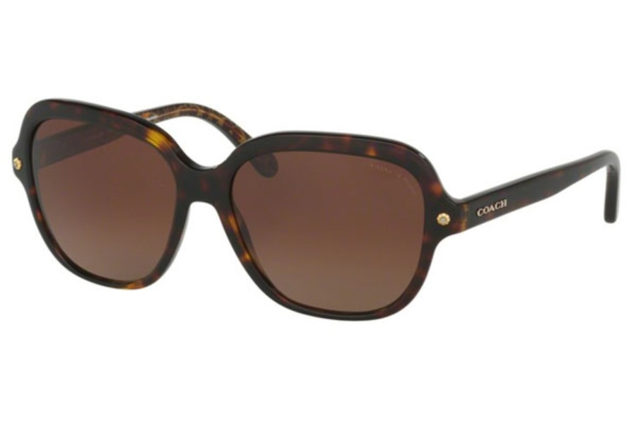 Coach HC8192F Sunglasses in 5394T5 Dark Tort/Dark Tort Gold Sig C / Brown Gradient Polar