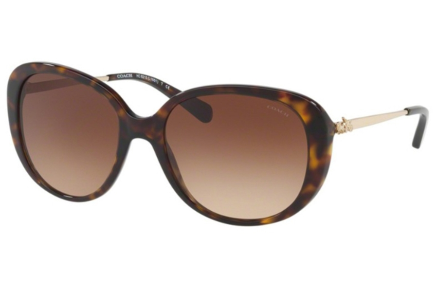 Coach HC8215 Sunglasses in 548513 Dark Tortoise / Brown Gradient