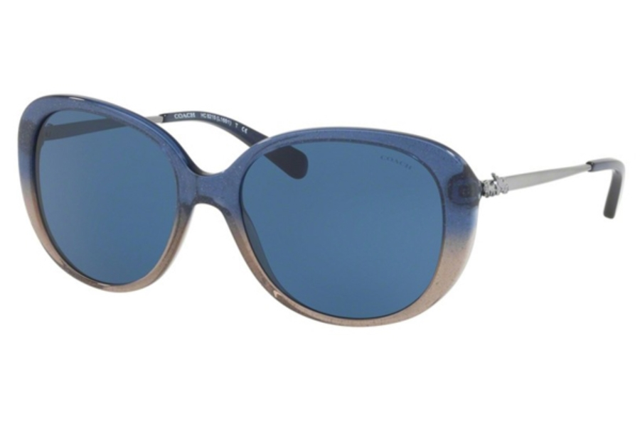 Coach HC8215 Sunglasses in 548980 Denim Taupe Glitter Gradient / Dark Blue Solid