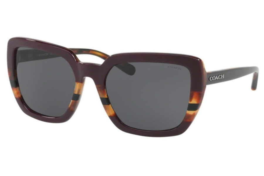 Coach HC8217F Sunglasses in 547887 Oxblood Tort Varsity Stripe / Dark Grey Solid (Discontinued)