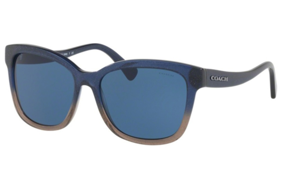 Coach HC8219 Sunglasses in 547480 Denim Taupe Glitter Gradient / Dark Blue Solid  (Discontinued)