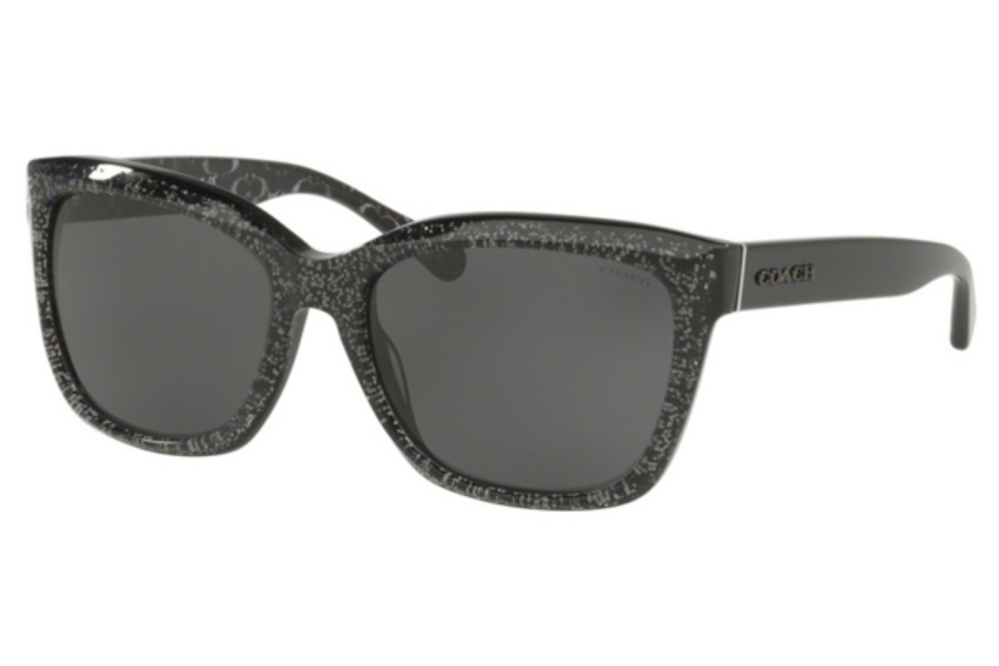 Coach HC8230 Sunglasses in 550587 Black Chunky Glitter / Dark Grey Solid